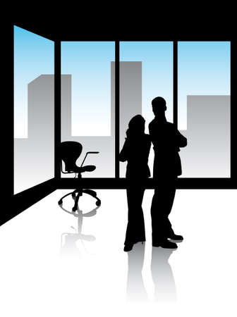 two managers in office with skyline of the city