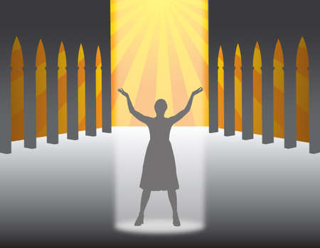 devout woman who prays in a church Illustration