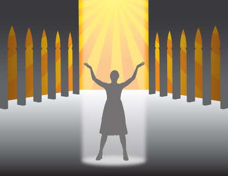 divinit�: femme pieuse qui prie dans une �glise