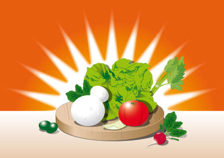 mediterranean diet with mozzarella, tometoes and vegetables Illustration