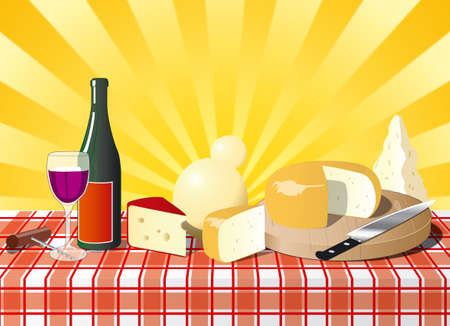 mediterranean diet: Italian cheese on the table with bottel of wine