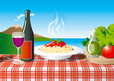 Spaghetti at Naples with Vesuvio and a bottle of wine Stock Photo