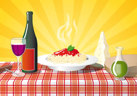 italian pasta on the table with a bottle of wine Stock Photo