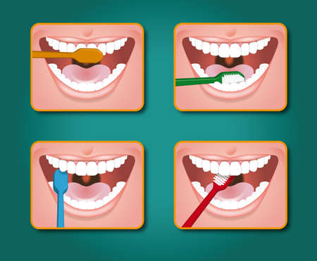 four steps to clean the teeth with toothpaste and toothbrush Stock Photo