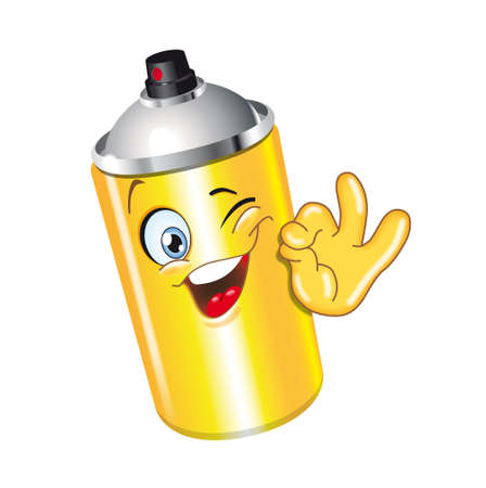 spray can cartoon character ok smiling bottle funny Stock Photo