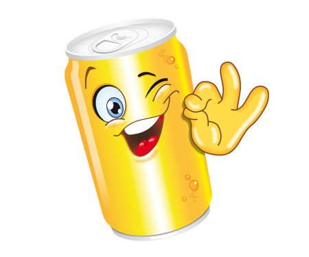 drink can cartoon character ok smiling funny Stock Photo - 33035477