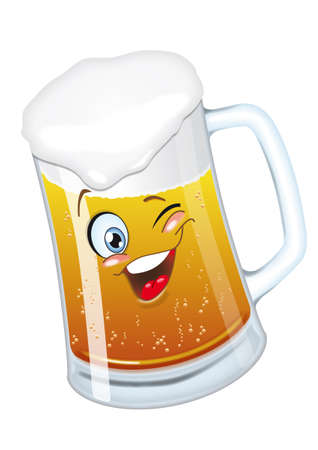 beer glass mug with foam cartoon character smiling funny