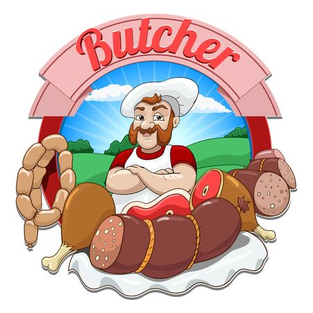 Butcher cartoon character vector illustration Ilustrace