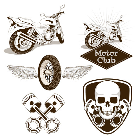 exhaust pipe: Motorcycle club icon emblem