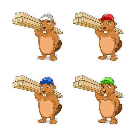 construction firm: Beaver builder different helmet colors vector illustration Illustration