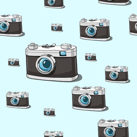 Old photocamera seamless pattern vector illustration