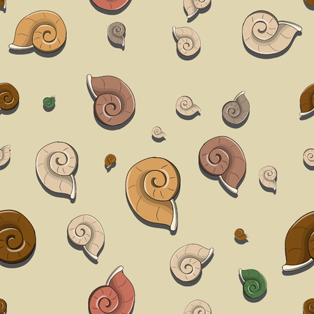 cochlea: Vector seamless pattern with helix shells background