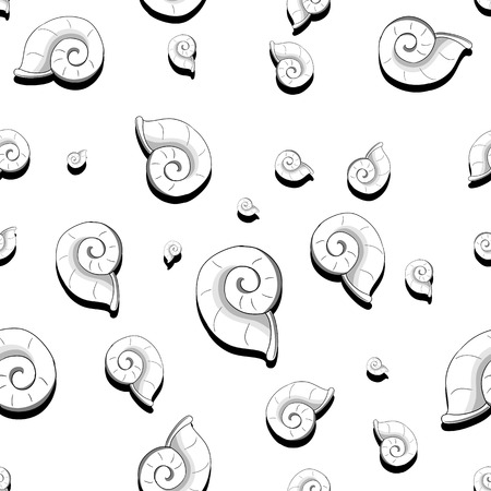 tardy: Seamless colorless sea shell helix vector illustration Illustration