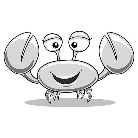 colorless: Cartoon colorless funny sea crab vector illustration