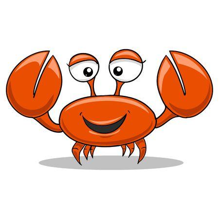 cangrejo caricatura: Color rojo cangrejo de divertidos dibujos animados ilustraci�n vectorial Vectores