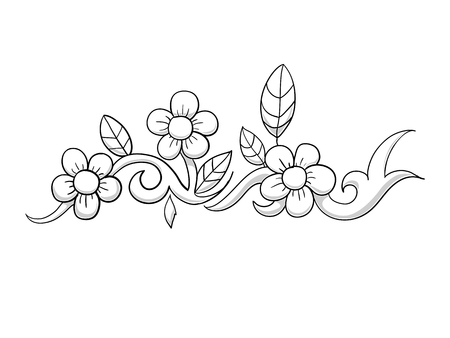 White and black color flower abstract vector illustration