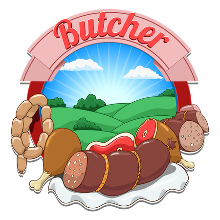 pinafore: Cartoon butcher hand drawn label vector background illustration