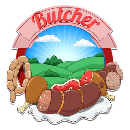 bald cartoon: Cartoon butcher hand drawn label vector background illustration