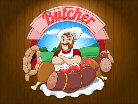 pinafore: Character butcher vector illustration on brown wooden background