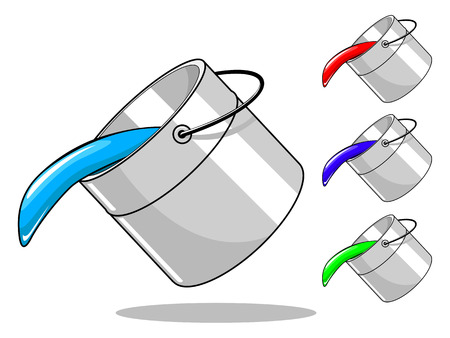 tiff: Paint color bucket hand drawn vector illustration Illustration