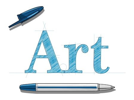 blue pen: Blue pen hand drawn vector illustration on white background