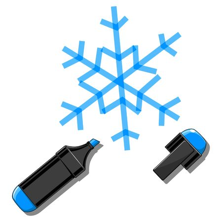 board marker: Snowflake drawn by marker minimalistic vector illustration on white board
