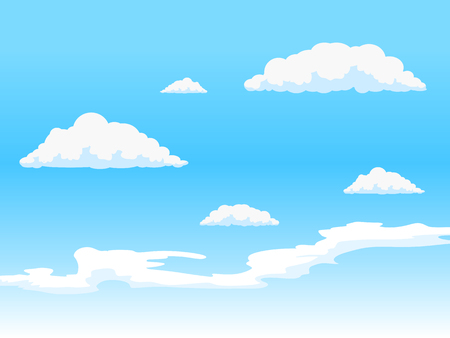 clouds in sky: Clouds on blue  sky hand drawn vector illustration