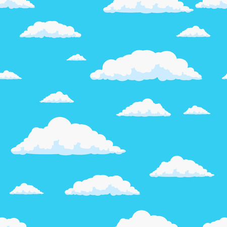 white clouds: Day sky with clouds seamless vector illustration background Illustration