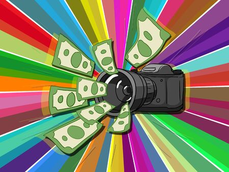 Money comes to photographer hand drawn vector illustration