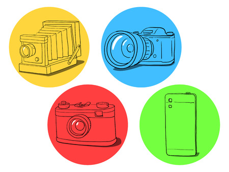 Set of sketches different photo cameras vector illustration Illustration