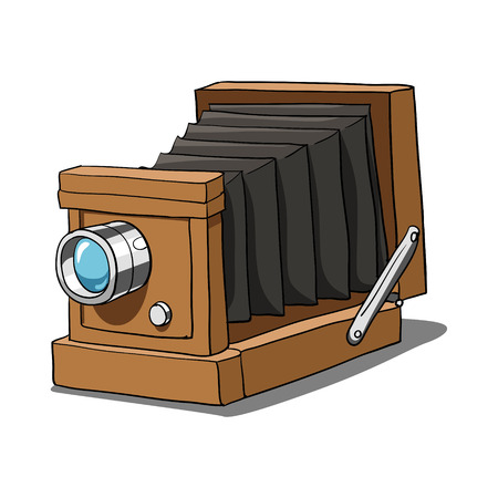 Retro photo camera hand drawn vector illustration