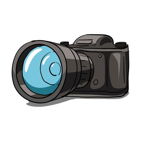collectible: Black photo camera hand drawn vector illustration