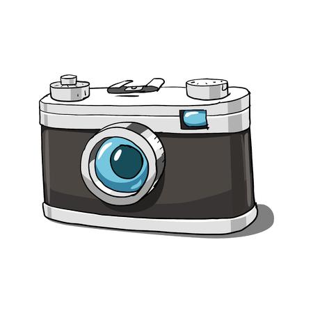 collectibles: Black small photo camera hand drawn vector illustration