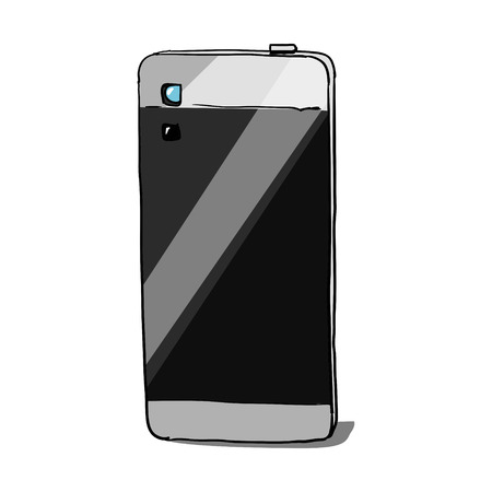 obscura: Smartphone with camera hand drawn sketch vector illustration