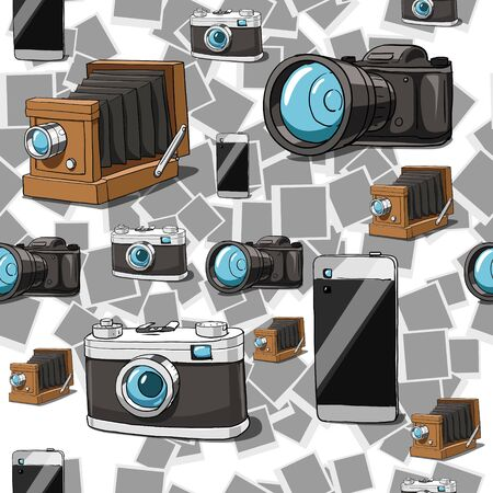 obscura: Seamless pattern background vintage photo camera hand drawn vector illustration