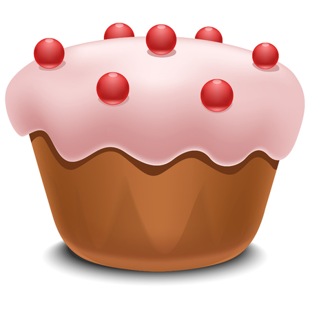creme: Cupcake with berries sweet pink color vector illustration Illustration