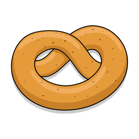 bretzel: Pretzel hand drawn simple color isolated vector illustration