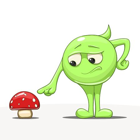 inedible: Cartoon abstract green character with red mushroom vector illustration