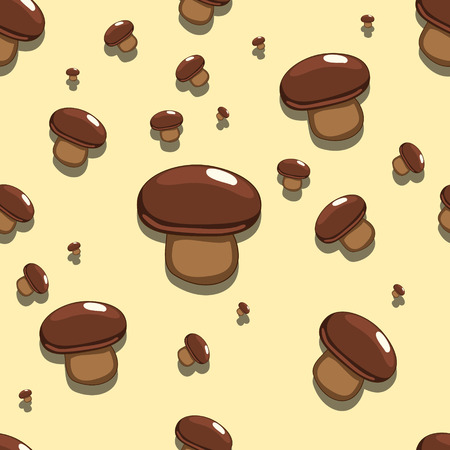 edible: Seamless pattern background with edible cartoon muchroom vector illustration