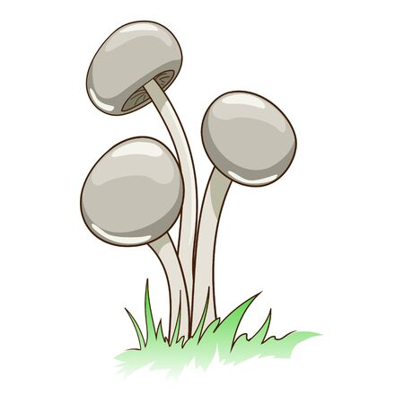 Toxic cartoon mushrooms in grass vector illustration Illustration