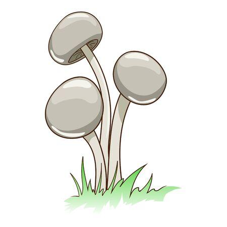 intoxicating: Toxic cartoon mushrooms in grass vector illustration Illustration