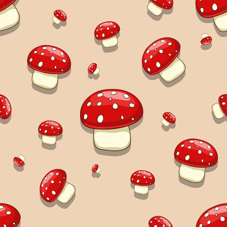 edible: Seamless pattern background amanita toxic mushroom vector illustration Illustration