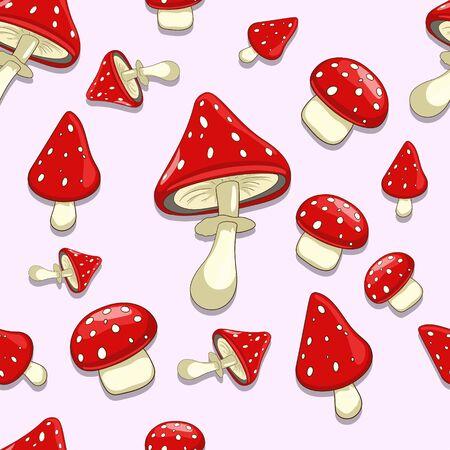 spores: Seamless pattern background amainta toxic cartoon mushroom vector illustration