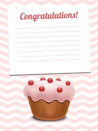 cupcake illustration: Greeting card with cupcake hand drawn vector illustration