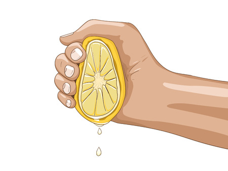 Lemon with hand gives a juice hand drawn vector illustration