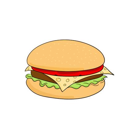 harmful: Hamburger cartoon doodle hand drawn vector illustration