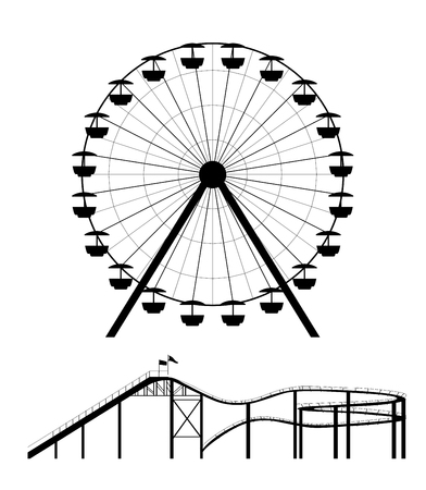 amusement park black and white: Ferris wheel and roller coaster silhouette vector illustration Illustration