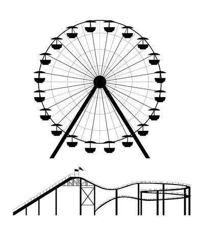 Reuzenrad en achtbaan silhouet vector illustratie