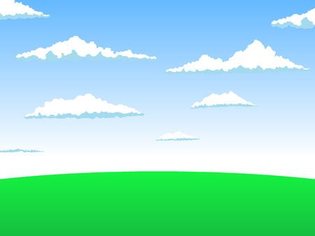 Landscape cartoon background hand drawn  vector illustration Illusztráció