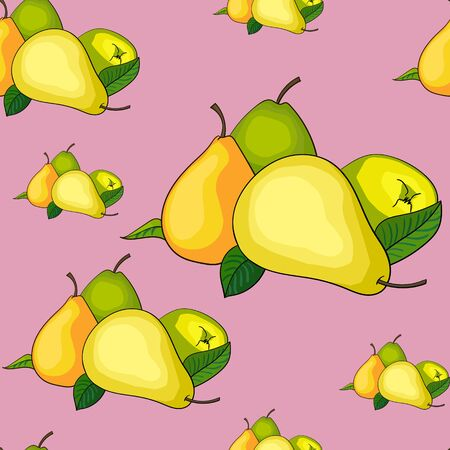 Seamless pattern background hand drawn doodle pears vector illustration